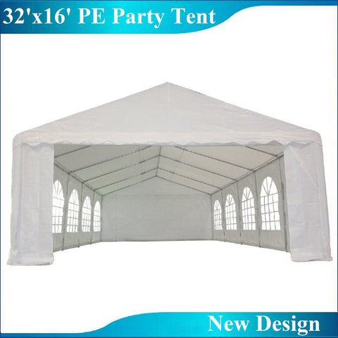 PE Party Tent 32'x16' with Waterproof Top - White