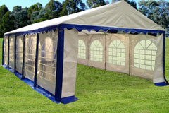 PE Party Tent 32'x16' - Blue, Green, Grey, Red
