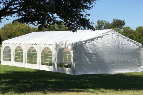 Budget PE Party Tent 32'x20' with Waterproof Top - White