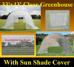 Clear Greenhouse 33'x13' w Shade Cover - Walk-in Nursery