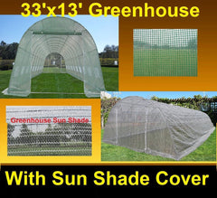 Greenhouse 33'x13'+Sun Shade Cover - Walk-in Nursery