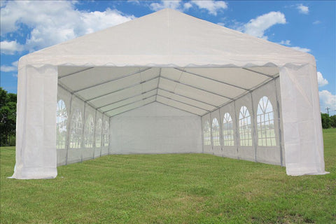 PE Party Tent 40'x16' with Waterproof Top - White