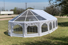 40'x21' PVC Marquee with Clear Bay Windows - Heavy Duty Large Party Tent Wedding Canopy Gazebo Shelter w Storage Bags