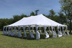 Polyester Pole Tent 40'x25' - Fire Retardant Party Tent Canopy White