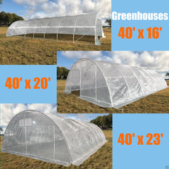 40'x16', 40'x20', 40'x23' Large Walk-in Nursery Greenhouse - Clear Top with Round Arch
