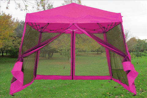 8'x8'/10'x10' Pink - Slant Leg w Net - Pop Up Tent