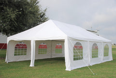 Frame PE Tent Party Wedding Canopy Shelter White - Storage Bags Included - 30'x20', 40'x20'