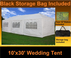 PE Wedding Tent 10'x30' White - Gazebo Party Pavilion Catering Shelter