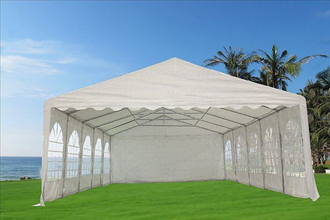 PE Party Tent 32'x20' with Waterproof Top - White