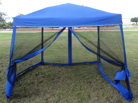 8'x8'/10'x10' Blue - Slant Leg w Net - Pop Up Tent