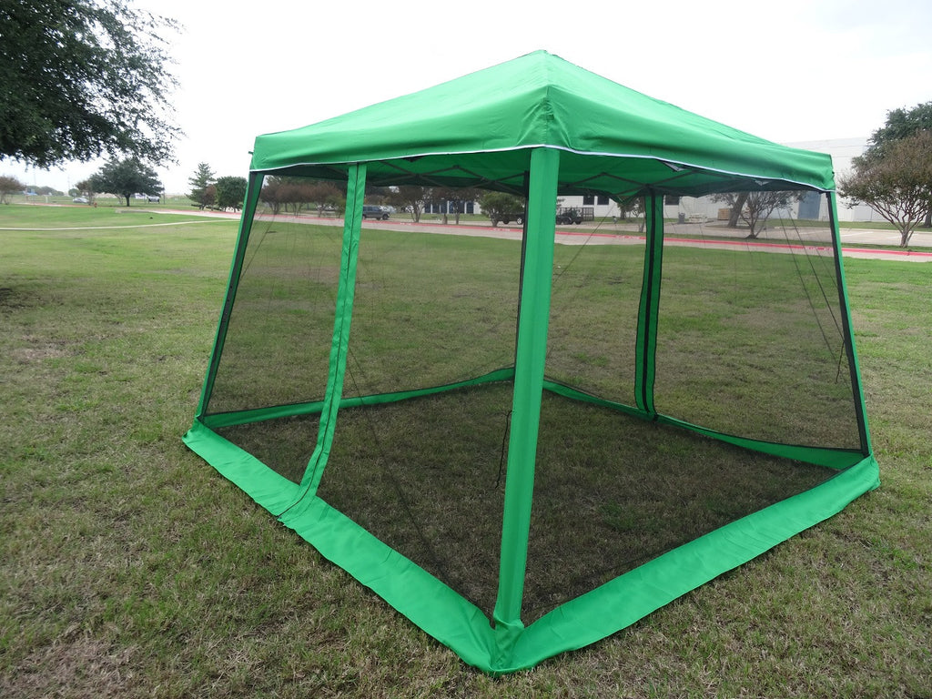 8u0027x8u0027/10u0027x10u0027 Green - Slant Leg w Net - & Green 8u0027x8u0027 / 10u0027x10u0027 Screen Pop Up Tent with Mosquito Net- Slant Leg