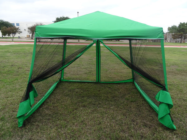 Green 8 X8 10 X10 Screen Pop Up Tent With Mosquito Net