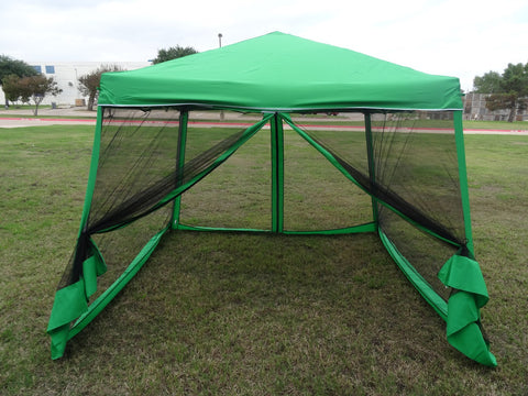 8'x8'/10'x10' Green - Slant Leg w Net - Pop Up Tent