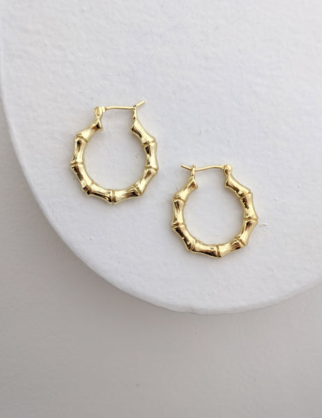 Small Bamboo Gold-Filled Hoops