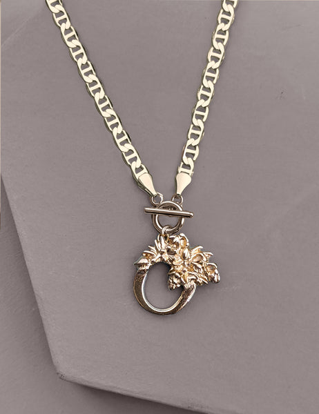 Botanical Initial Toggle Necklace