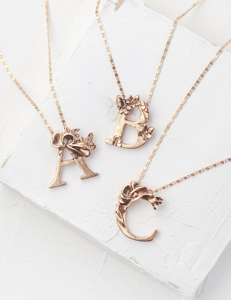 Botanical Initial Necklace