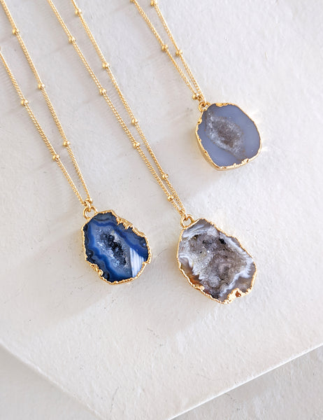 Gold-Filled Geode Cave Necklace
