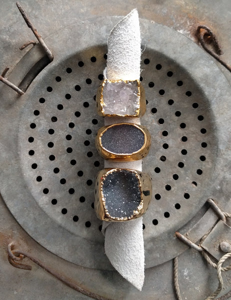 Gold Druzy Ring - Cool Neutrals