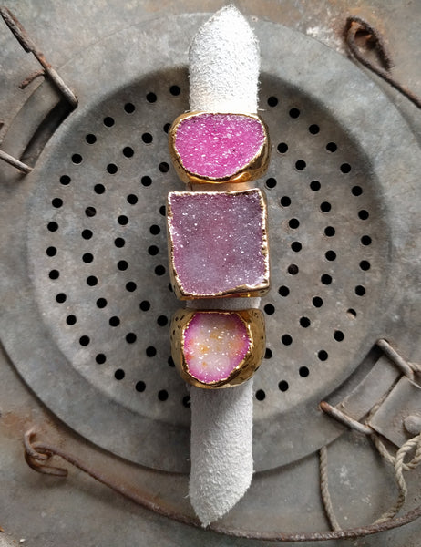 Gold Druzy Ring - Pinks