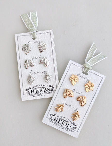 Three-Herb Earrings on Plantable Card | MORE COLORS |