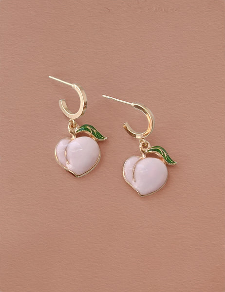 Peach Enamel Hoops