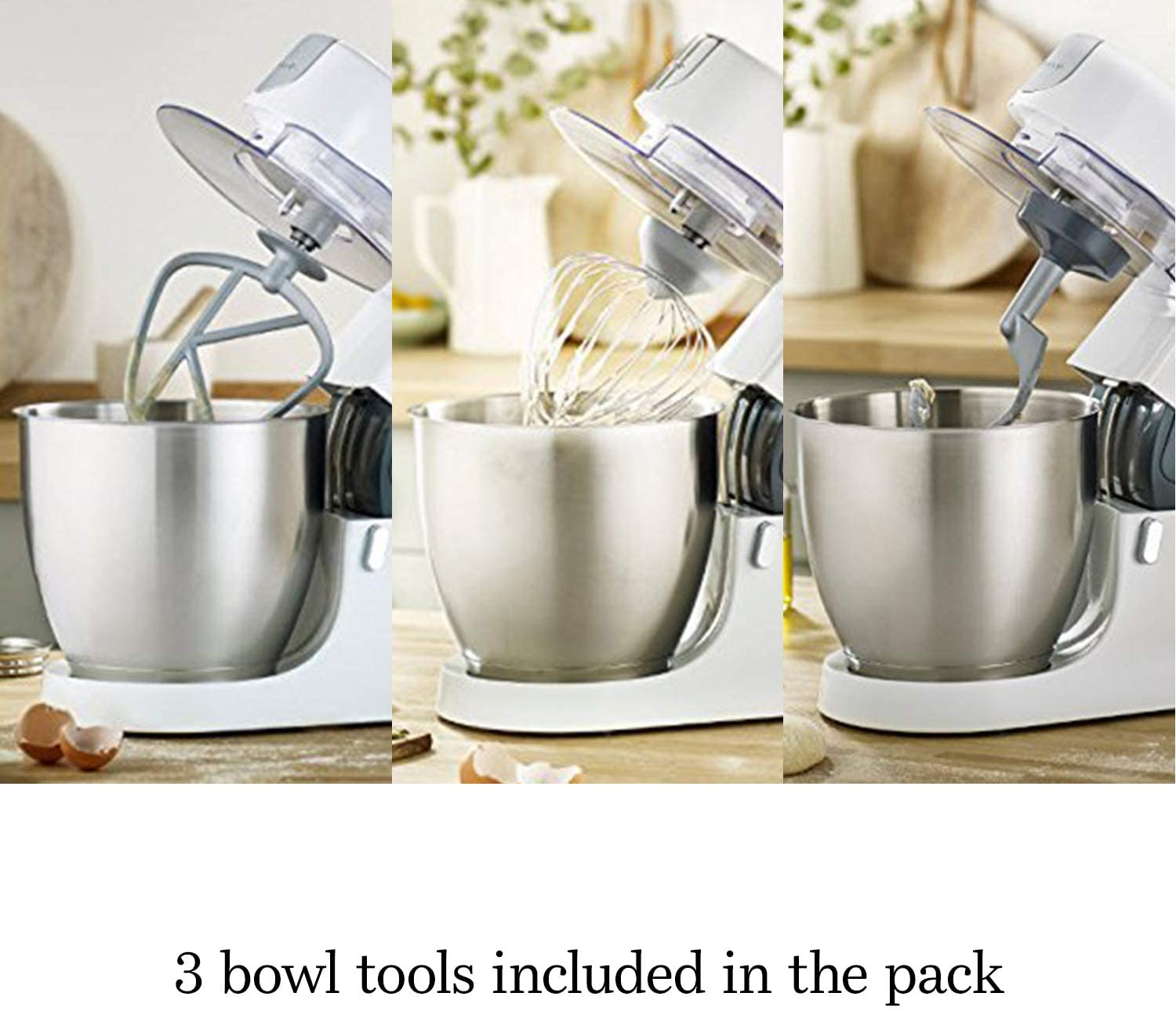 Kenwood Chef Stand Mixer - Stylish food mixer in white with K-beater, dough hook, whisk and 4.6L bowl, 1000W [Energy Class A] | KVC3100