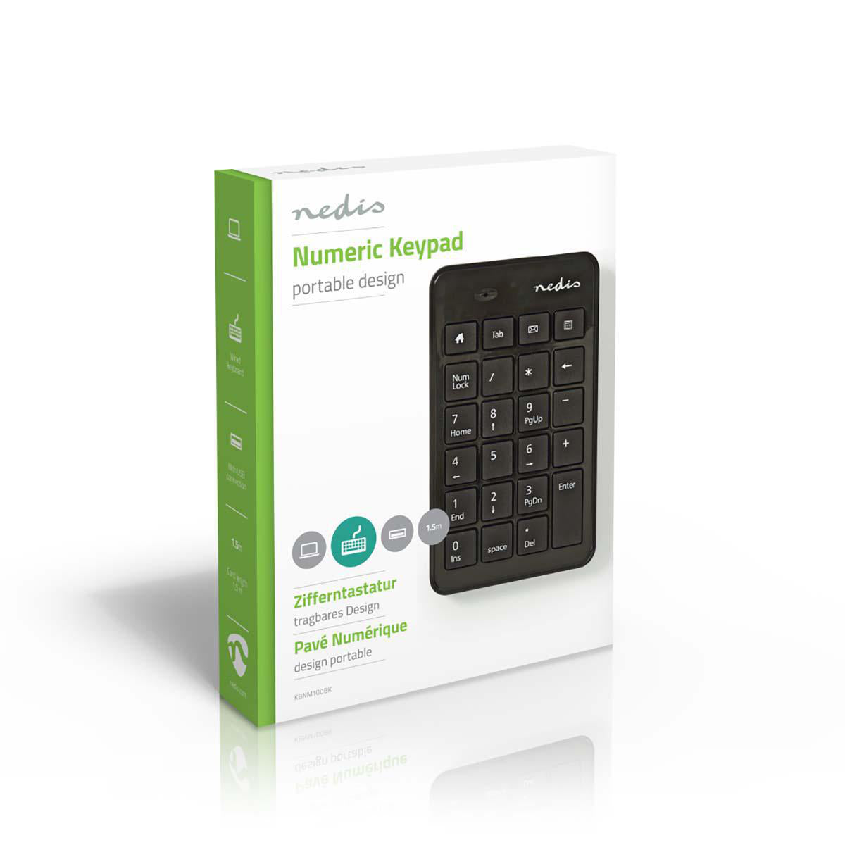Nedis Wired Numeric Keypad, USB, Black | KBNM100BK