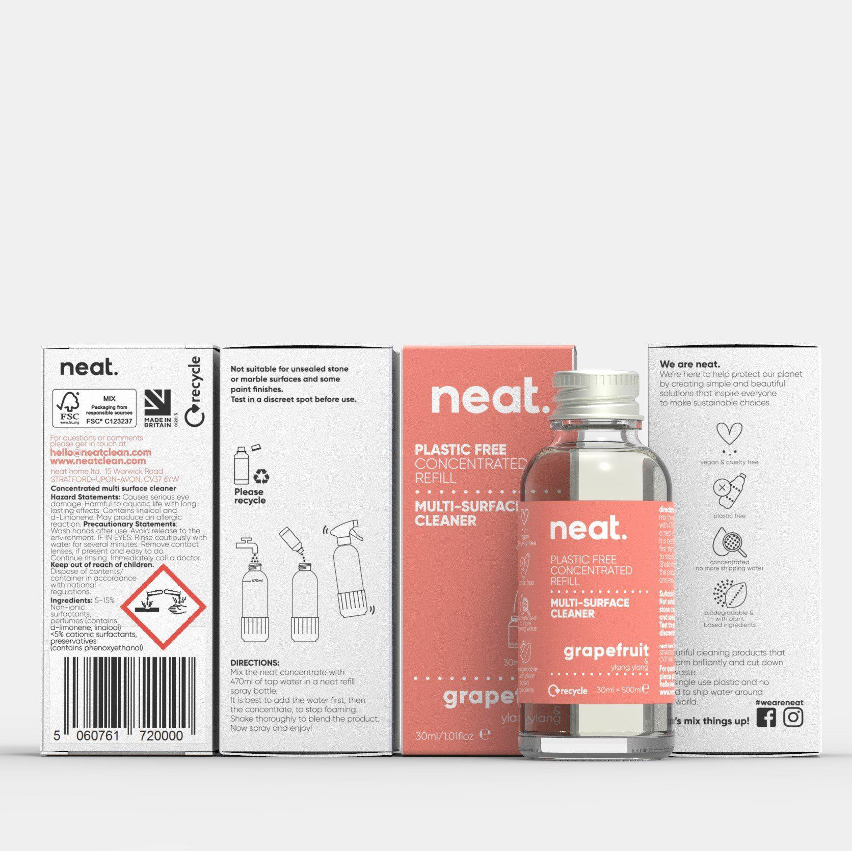 The 3x Grapefruit Concentrated Refill Bundle-NeatClean-antibac cleaner fresh recyclable enviromental-NeatClean