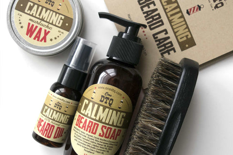 Contents: Calming Beard Soap, Beard Oil, Mustache Wax, Beard Brush, & User's Guide
