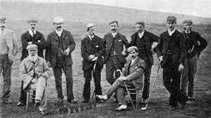 Old Tom Morris (seated far left) on 11 October 1894 at the New Luffness Competition.