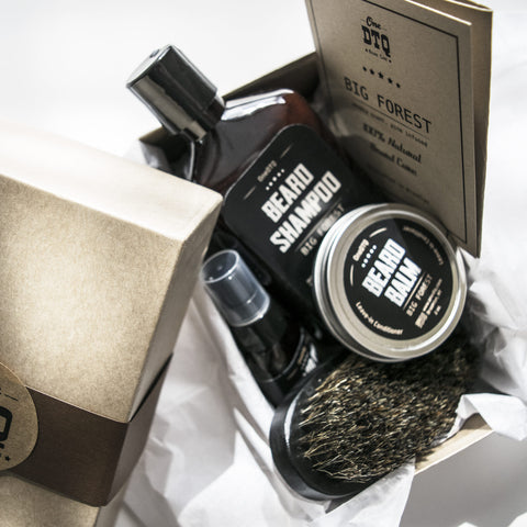 Beard Care Kit: Big Forest Beard Shampoo, Beard Oil, Beard Balm & Beard Brush - by OneDTQ - Best Beard Care