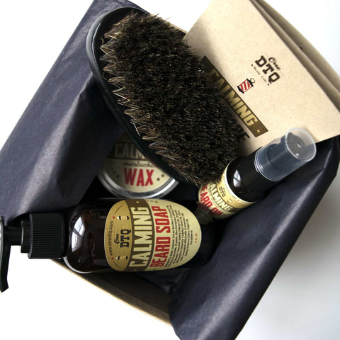 Calming Beard Grooming Kit: Beard Soap, Beard Oil, Mustache Wax & 100% Natural Boar's Hair Beard Brush - OneDTQ - Best Beard Care  - 1