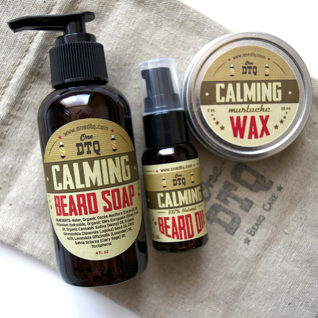 Beard Grooming Kit: Calming Beard Soap, Beard Oil & Mustache Wax - OneDTQ - Best Beard Care  - 1