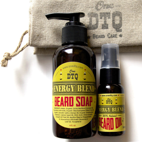 Beard Grooming Kit: Energy Beard Soap & Beard Oil - by OneDTQ - Best Beard Care