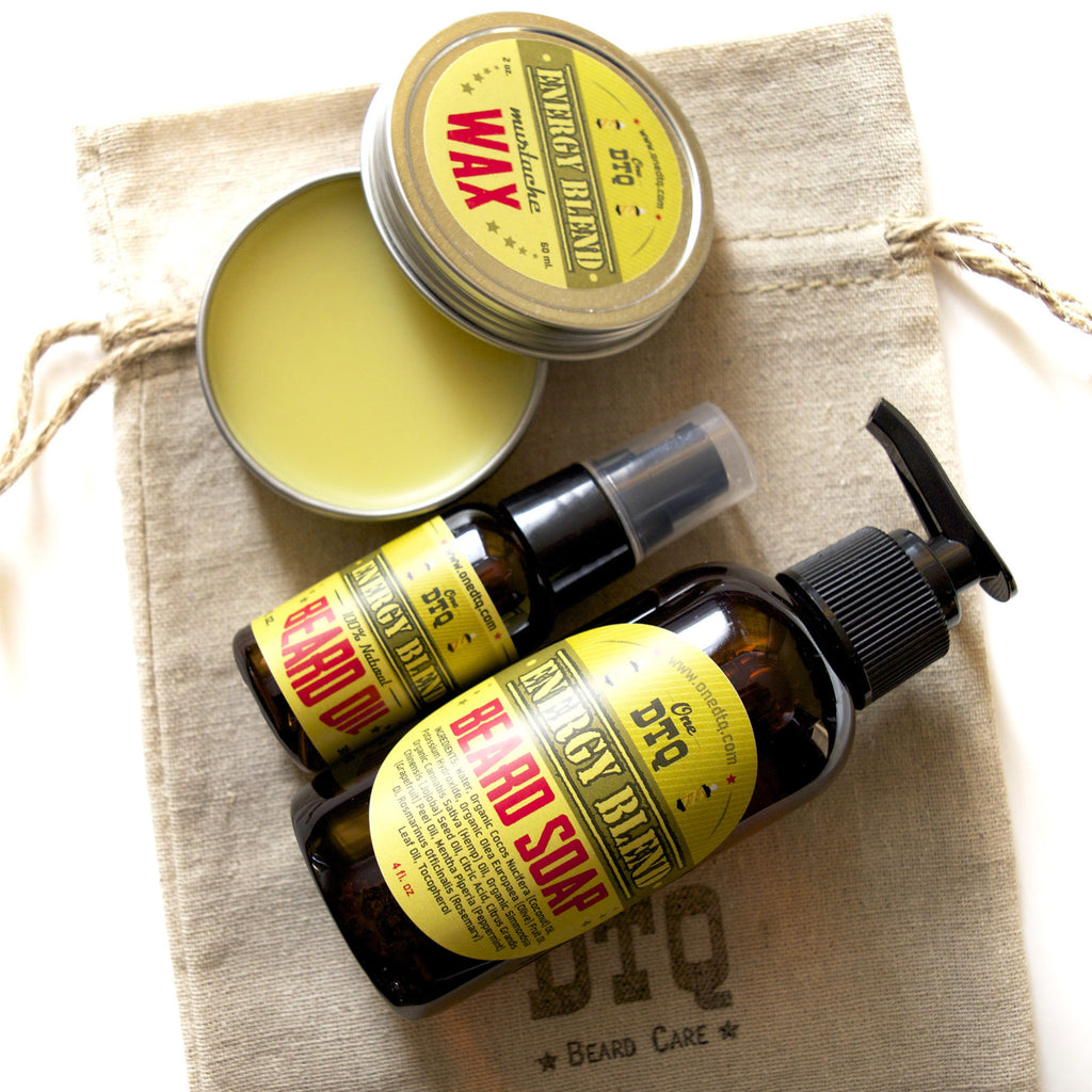 Beard Grooming Kit: Energy Beard Soap, Beard Oil & Moustache Wax - by OneDTQ - Best Beard Care