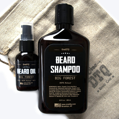 Beard Care Kit: Big Forest Beard Shampoo & Beard Oil - by OneDTQ - Best Beard Care