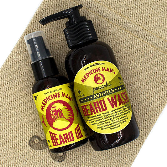 Medicine Man's Anti-Itch Beard Care Kit: Beard Wash and Beard Oil - OneDTQ - Best Beard Care  - 1