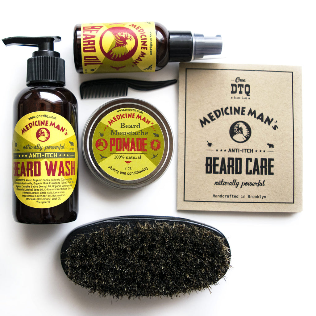 medicine man s anti itch beard grooming kit wash oil pomade brush onedtq best beard care. Black Bedroom Furniture Sets. Home Design Ideas