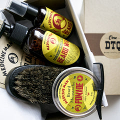 Medicine Man's Anti-Itch Beard Grooming Kit: Beard Wash, Oil, Beard & Mustache Pomade, Beard Brush - Stops Beard Itch & Beard Dandruff - OneDTQ - Best Beard Care  - 3