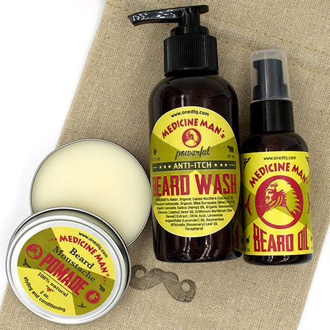 Medicine Man's Anti-itch Beard Care Kit: Beard Wash, Beard Oil and Beard/ Mustache Pomade - by OneDTQ - Best Beard Care