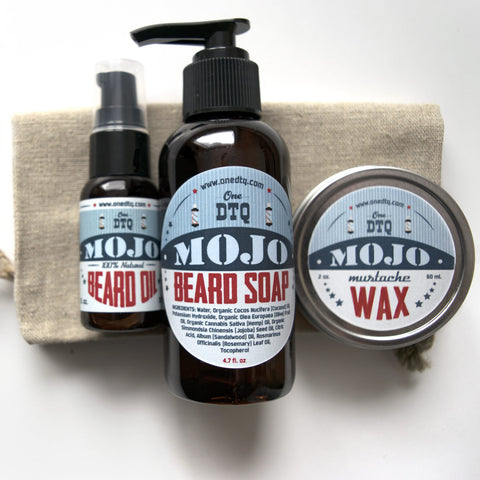 MOJO Beard & Mustache Grooming Kit: beard soap, beard oil & mustache wax - OneDTQ - Best Beard Care  - 1