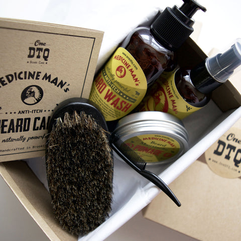 Medicine Man's Anti-Itch Beard Grooming Kit: Beard Wash, Oil, Beard & Mustache Pomade, Beard Brush - Stops Beard Itch & Beard Dandruff - OneDTQ - Best Beard Care  - 1