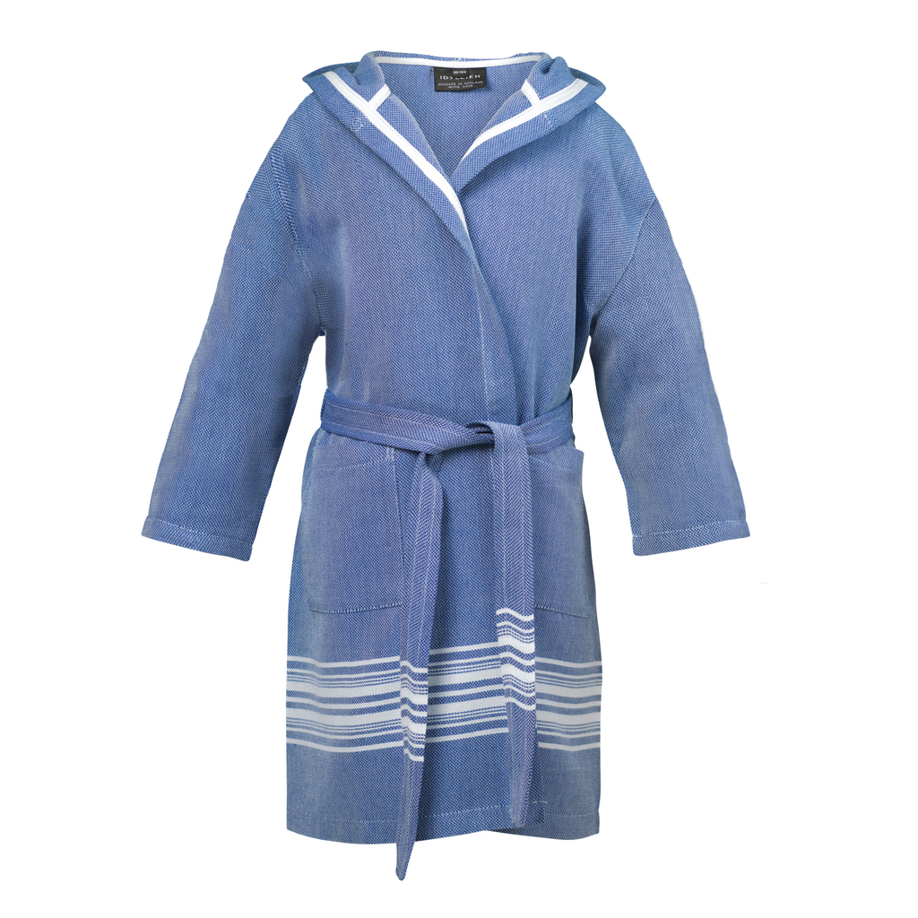 Children's bathrobe stripe, Denim blue