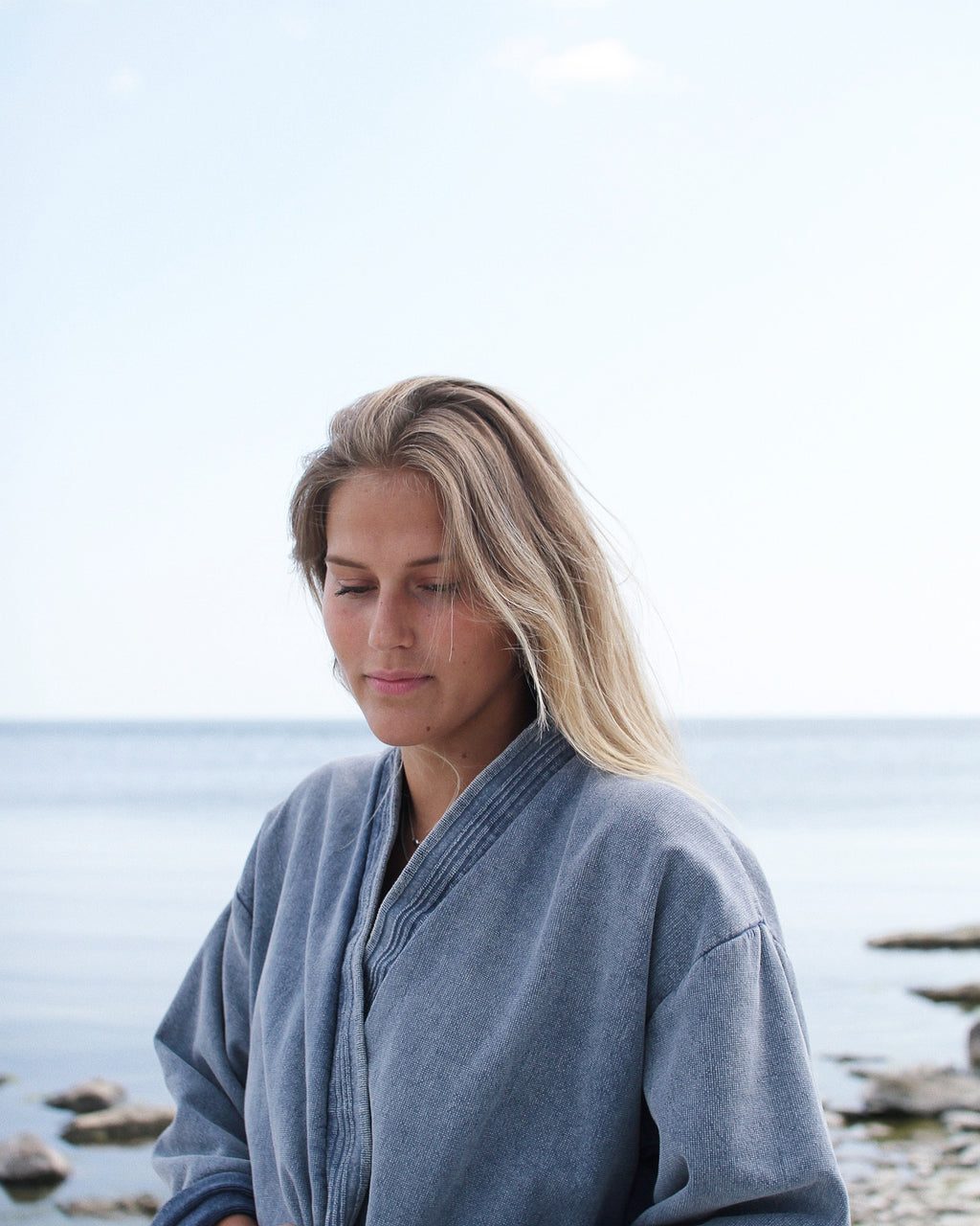 Bathrobe eco terry, Denim