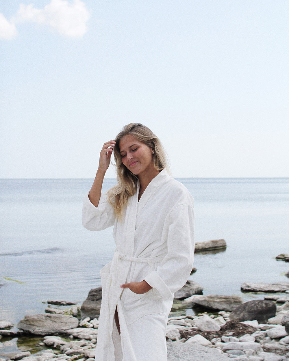 Bathrobe eco terry, white