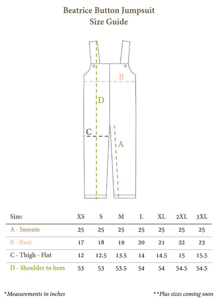 Size Chart for Beatrice Button Jumpsuit
