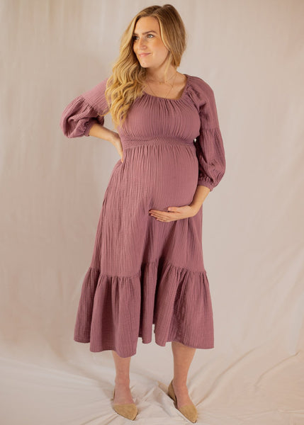 Eliza Dress Elderberry- Maternity Friendly