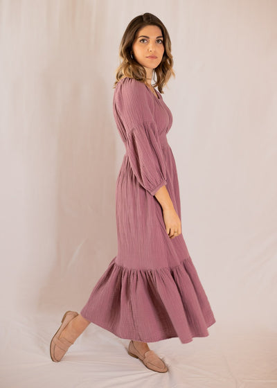 Eliza Dress Elderberry- Nursing and Pregnancy Friendly