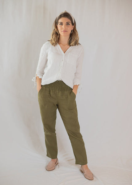 Smocked Linen Pants Olive- Transitional Pants for Motherhood