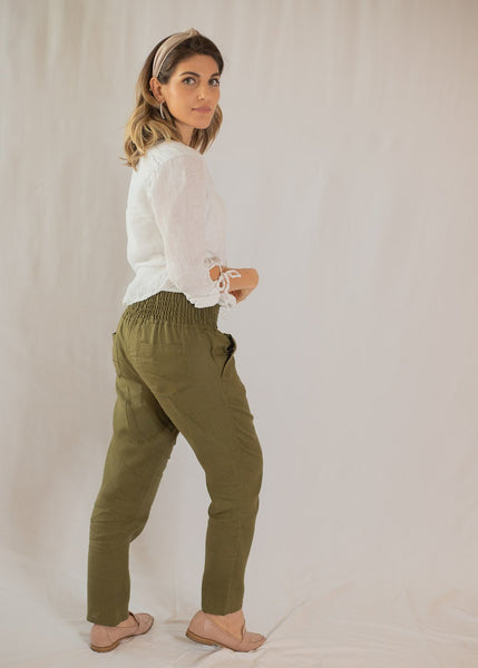 Smocked Linen Pants Olive- Everyday Pants for Mothers